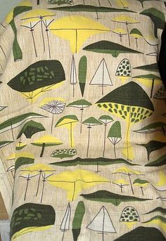 Vintage Mid-Century Modern Atomic Mushroom Trees Barkcloth Fabric 38 x 48 | eBay