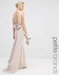 $56. Whisper pink. TFNC Petite Wedding Sateen Bow Back Maxi Dress