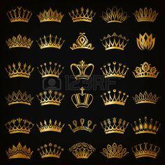 principessa vintage: Set di decorativi vittoriano corone d'oro per la…