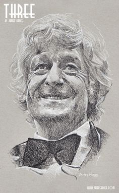 Latest Doodle  - 'Three' (Doctor Who - Charcoal)  Presenting your Third Doctor - The Mighty Jon Pertwee! - by James Hance