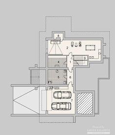 Projekty domów LK Projekt LK&1127    rzuty Piwnica Bungalow House Design, Floor Plans, Country Homes, Floor Plan Drawing