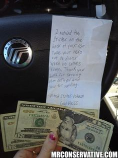 "In the note above, a veteran saw an army wife bumper sticker and left $40 as a ""dinner date gift"" and this touching note for the soldier's wife."