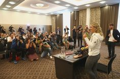 Angelique Kerber of Germany talks to the media during a press conference after arriving as new Tennis World number One and winner of the US Open at Munich Airport on September 13, 2016 in Munich, Germany.
