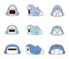 59 Ideas For Baby Cartoon Animals Happy Cute Little Drawings, Cute Drawings, Face Illustration, Cartoon Illustrations, Cute Shark, Kawaii Doodles, Japanese Cartoon, Baby Cartoon, Kawaii Drawings