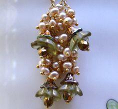Drop earrings Dangle earrings Pearl earrings cluster by chashway, $88.00