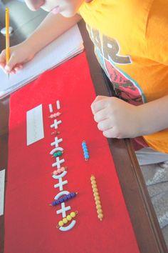 """Making Montessori Ours"": Montessori Addition Tables Work - Coloured Bead Bars"