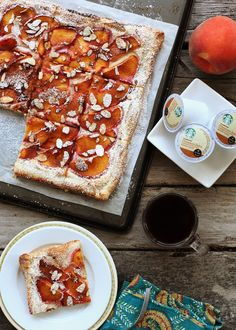 An Almond Peach Tart by Alice Currah of Savory Sweet Life pairs perfectly with Starbucks Cinnamon Dolce Coffee.