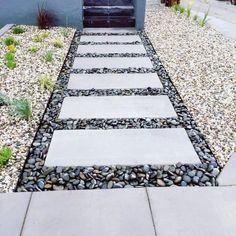 Stepping Stone Pathway, Concrete Stepping Stones, Pebble Walkway Pathways, Stone Pathways, Cobblestone Walkway, Rock Pathway, Concrete Steps, Paving Stones, Backyard Walkway