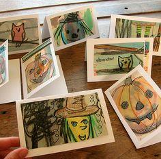 Halloween cards from children's school art.
