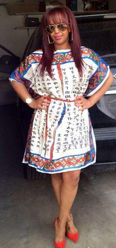 Ethiopian alphabets printed on a beautiful dress