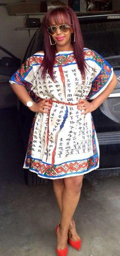 Ethiopian alphabets printed on a beautiful dress