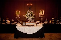 Fabulous #dessert #table at #villasiena! #candelabras #decor #cupcakes #wedding #reception