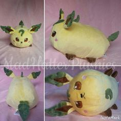 Recent leafeon commission  Thanks so much to Michelle for commissioning him and for the awesome feedback!  I'm so glad your nephew loves it!! Leafeon is based on teacuplion's catroll pattern and is approx 12inches long w/o tail and is 100% minky