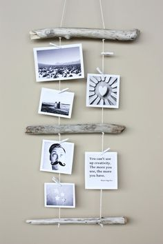DIY driftwood photo display