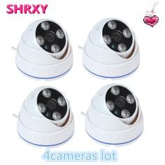 [Visit to Buy] 2017 newest 4pieces CCTV Camera 700TVL IR Cut Filter 24 Hour Day/Night Vision Dome  Surveillance Plastic Home Camera lot system #Advertisement