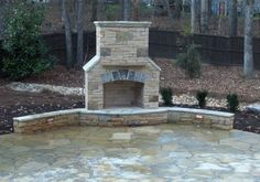 Backyard Fireplace Design Ideas, Pictures, Remodel, and Decor – page 2 - Modern Outdoor Fireplace Patio, Outside Fireplace, Outdoor Fireplace Designs, Fireplace Set, Outdoor Fireplaces, Fireplace Ideas, Stone Fireplaces, Fireplace Seating, Outdoor Rooms