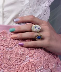 amazing mani and vintage rings