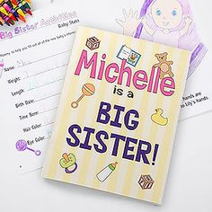 LOVE this New Big Sister or Big Brother Gift Idea! It's a personalized coloring book that you can customize with their new sibling's name and it's a cute activity book that's all about how to be a big sister or brother! Such a cute gift idea to bring to the hospital!