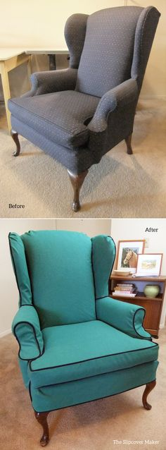 Custom made slipcover in vibrant green canvas and navy piping for 40+ year old wingback chair. It's brand new again!