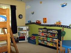 Transportation Toddler Room, I wanted to create a fun inspiring play space for my 3 y.o. without looking too much like I bought it out of the catalog. With some basic PBK pieces and some great vintage thrift and Ikea finds this is the result., Boys Rooms Design