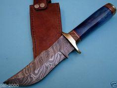 Custom Made Damascus Hunting Knife Stained Camel Bone PAL 7165 | eBay