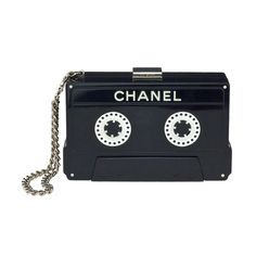 CHANEL CASSETTE TAPE CLUTCH | From a collection of rare vintage handbags and purses at http://www.1stdibs.com/fashion/accessories/handbags-purses/