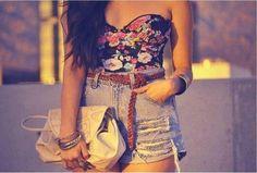 Summer outfit #floral#bandeau#denim#high waist#summer#outfit#women#teen#idea