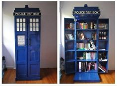 Cobalt Blue Police Box Library from the Facebook page for Improbables Librairies, Improbables Bibliothèques https://www.facebook.com/improbableslibrairiesimprobablesbibliotheques