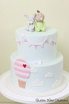 Baby Blue Cake with Clouds, Bunting Hot Air Balloons and Baby Boy with Bunny Topper