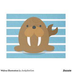 Walrus Illustration Fleece Blanket. Price $31.65 per fleece blanket