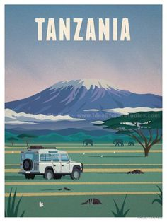 Vintage Travel Tanzanie / Tanzania, poster - Size - Size includes a inch white border around the artwork. Digital Print on 80 lb cover matte white Physical poster does. Retro Poster, Vintage Travel Posters, Poster Poster, Plakat Design, Tourism Poster, Photo Vintage, Vintage Style, Travel Illustration, Travel Photography