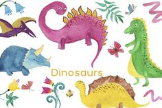 Watercolor dinosaurs by ramika on @creativemarket