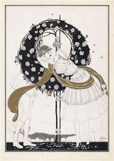 Artist: Gerda Wegener Title: Der Kuß , 1916 Medium: brush and ink htnd with gold and silver Size: x cm. Art Deco Illustration, Moholy Nagy, Global Art, Illustrations And Posters, Art Market, Original Artwork, Auction, Prints, Anime
