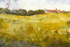 "Longview Farms by Richard Sneary Watercolor ~ 10"" x 14"""