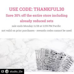 #Repost @studio_l2e  And...it's LIVE! Use the code THANKFUL30 to save 30% off the entire shop including already reduced sets! Sale starts NOW and ends at Monday 11:59 PM Pacific time. Discount is not valid on prior purchases. Due to the increase in orders changes additions and cancellations will not be allowed. Shipping times may increase by an additional day or two. We'll be closed Thursday thru Sunday to spend time with family. . . #StudioL2E #makingplanningfun #plannerstamps…