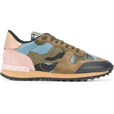 Valentino Garavani Rockrunner sneakers ($795) ❤ liked on Polyvore featuring shoes, sneakers, blue, blue leather sneakers, leather lace up sneakers, camo sneakers, blue leather shoes and valentino sneakers