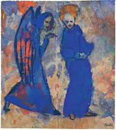 Emil Nolde the Danish German Expressionist. A modern master who revealed his vision through oil paint, water colour and printmaking.  His forms were emotive and colours bold and vivid. In 1942 he wrote 'every colour holds within it a soul…'  Frau und Engel (Woman and Angel), c.1940