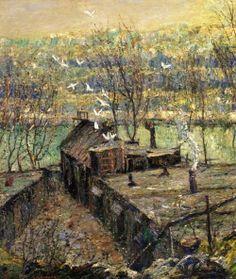 "artishardgr: ""Ernest Lawson - The Pigeon Coop 1916 """