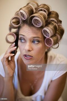 View top-quality stock photos of Woman With Curlors And Cell Phone. Find premium, high-resolution stock photography at Getty Images. Hairstyle Look, Curled Hairstyles, Wet Set, Hair Setting, Roller Set, Curlers, Photos Of Women, Beauty Shop, Perm