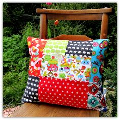 Add a touch of colour to a child's room with this vibrant patchwork cushion. This cushion measures x and comes complete with an inner cushion pad. Patchwork Cushion, Patchwork Designs, Cushions, Pillows, Cushion Pads, Fabric Scraps, Kids Room, Cotton Fabric, Vibrant