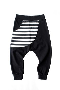 "B/W STRIPE ""KANGAROO"" POCKET HAREMS"
