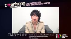 I Love Anisong 2013 message videos: T.M. Revolution, May'n - http://sgcafe.com/2013/11/love-anisong-2013-message-videos-t-m-revolution-mayn/