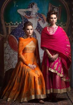 orange and pink lehengas