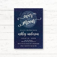 Over the Moon Baby Shower Printable Invitation by CrissyDesignCo