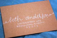 Custom Calligraphy Modern Wedding Envelopes Party Envelopes - Type Rope. $1.50, via Etsy.
