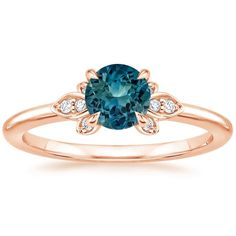 Sapphire Fiorella Diamond Ring in 14K Rose Gold with 5.5mm Round Teal Sapphire