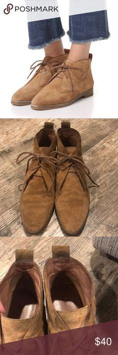 Madewell Nash Lace Up Booties in Truffle Luxe suede Madewell booties in a pointed-toe profile. Lace-up closure and pull tab. Stacked heel and crepe sole.  Good condition!  So cute and comfortable but too big for me.  Slight barely noticeable discoloration near top and back top.  Sold out on Shopbop for 198 Madewell Shoes Ankle Boots & Booties