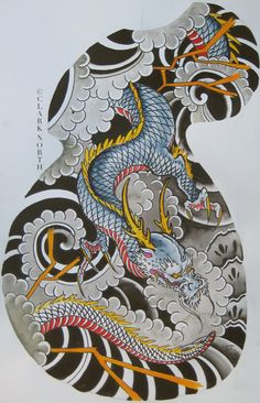 Japanese dragon half sleeve by Clark North