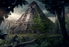 Lost Mayan Temple Dark Art Tattoo, Art Deco Party, New Year Art, Apocalypse Art, Art Deco Bathroom, Black Love Art, Art Nouveau Architecture, Matte Painting