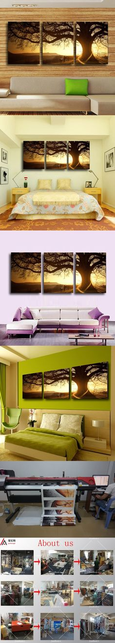 3 Panel Modern Printed Tree Painting Picture Cuadros Sunset Canvas Painting Wall Art Home Decor For Living Room No Frame PR157 $11.8